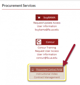 Procurement Services section in the employee tab of myBama